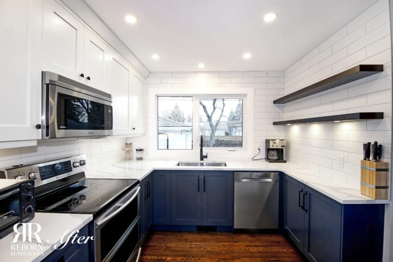 white upper cabinets navy lowers