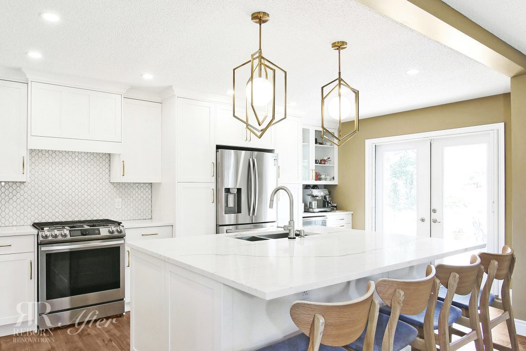photos pf newly renovated kitchen, modern appliances, iron cage chandelier in countertops, kitchen glass door in Calgary CA