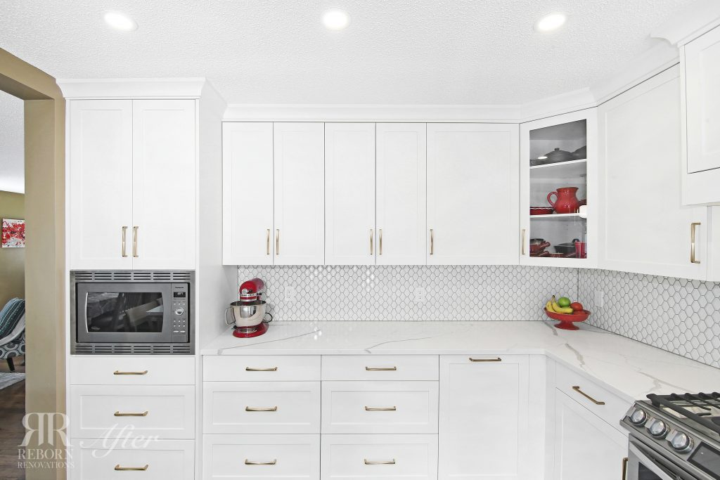 photos of newly renovated cabinet and modern appliances in NW, Calgary AB