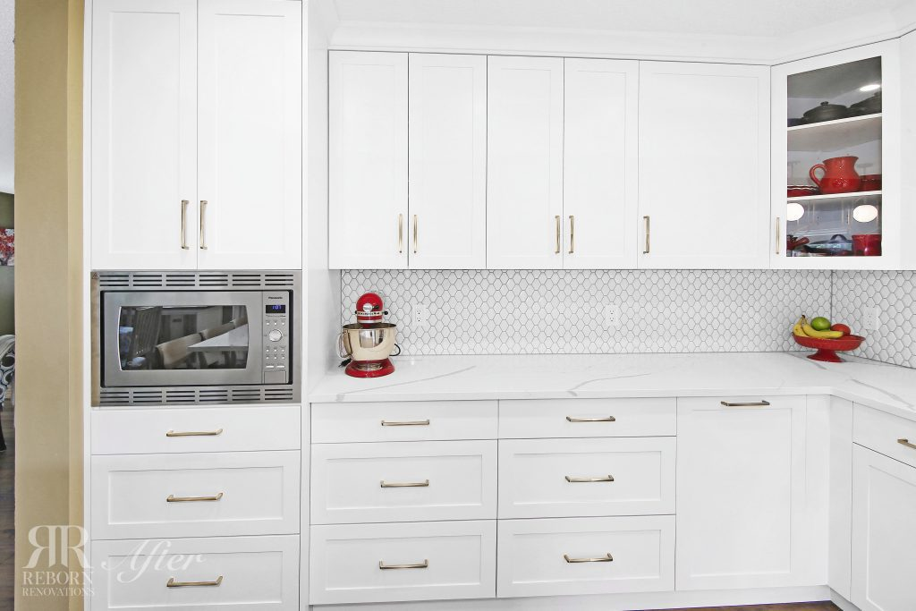 photos of modern style cabinets, stainless steel microwave oven in Calgary CA