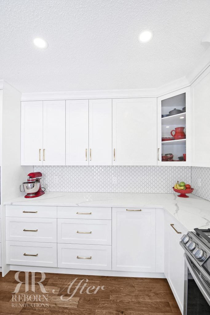 photos of newly custom cabinets with a light color accent in Calgary AB