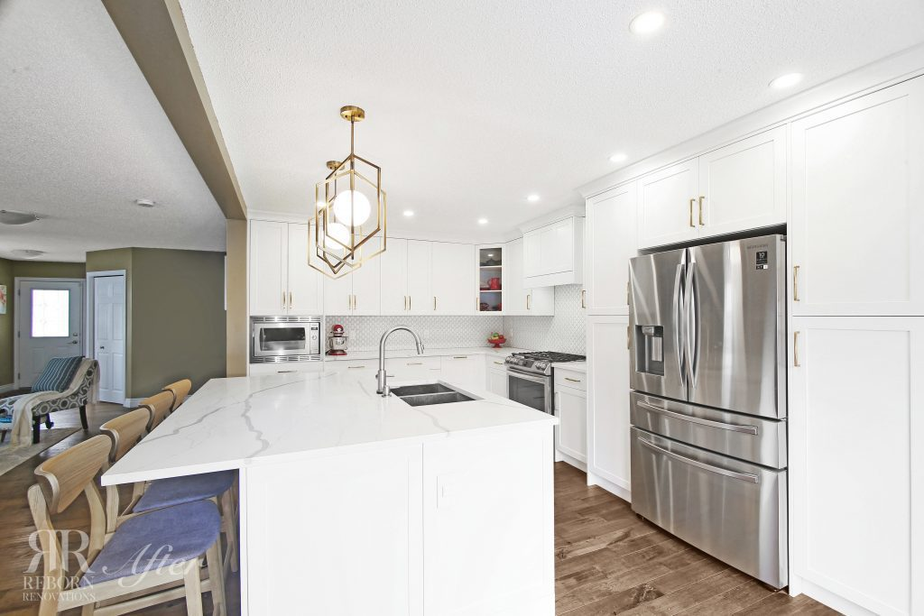 photos of newly renovated, white accent counters and cabinets