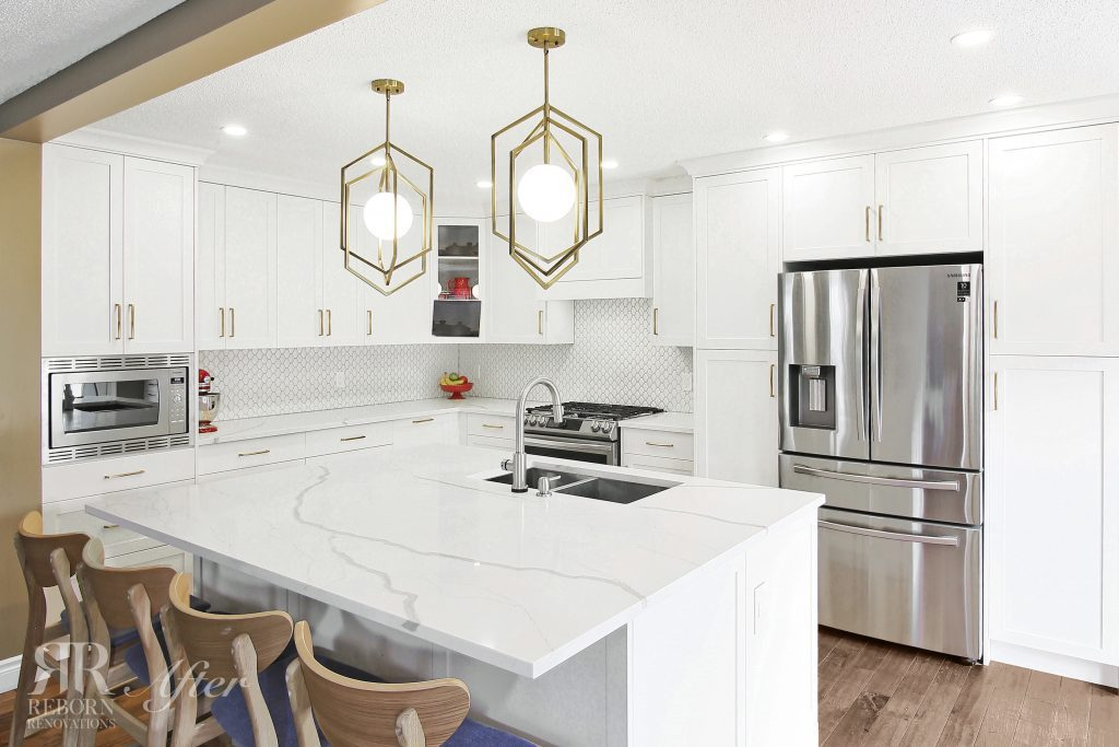 photos of remodeled kitchen, laminated countertops with wood chair, modern appliances in Calgary, AB