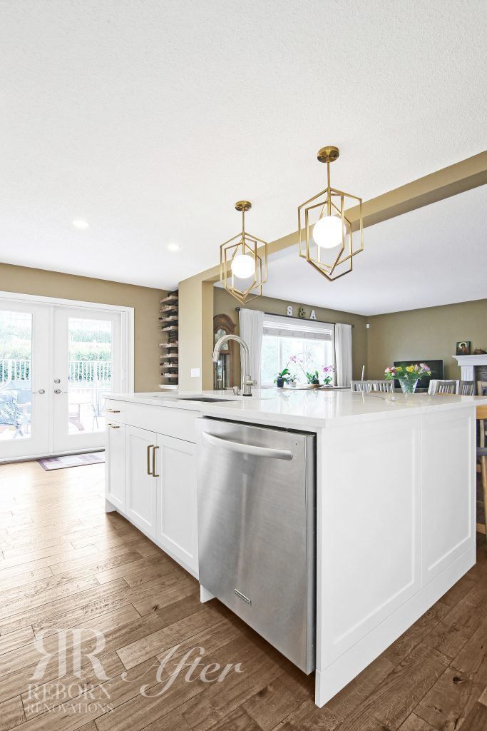 photos of home improve kitchen and living room combine with tan and white color, glass door and window, modern appliances in Calgary CA