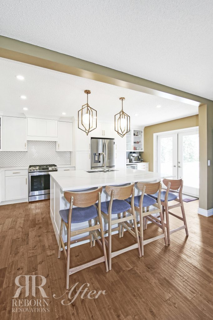 photos of reborn kitchen light accent cabinets, countertops and wooden chair, kitchen glass door in NW, Calgary