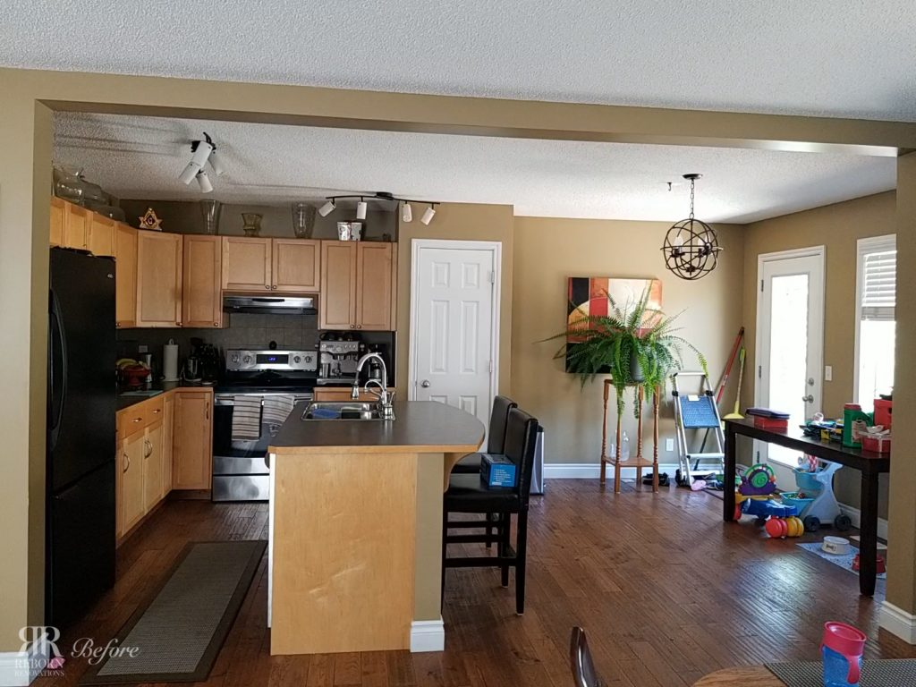 photos of unrenovated kitchen, wood kitchen cabinet and countertops, glass door kitchen in Calgary AB