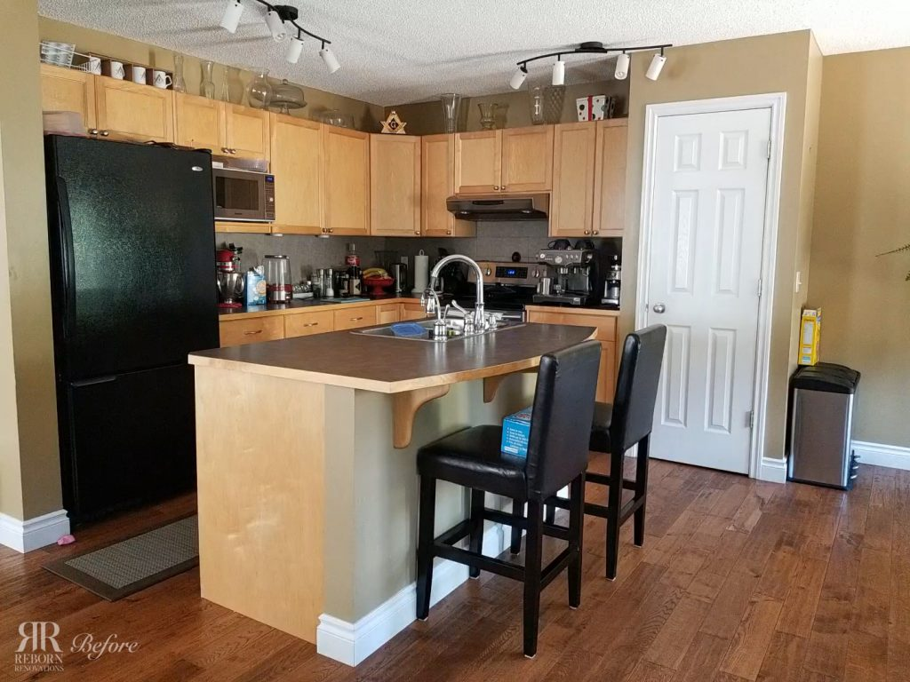photos of older kitchen, wood well-crafted cabinet and countertops with modern appliances in Calgary.