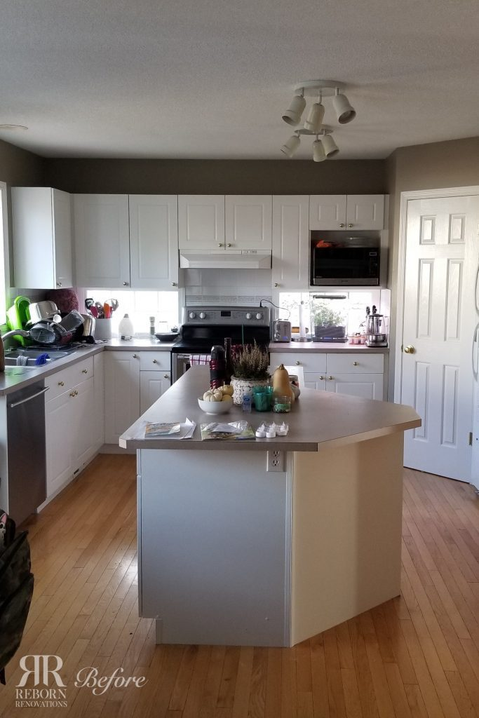 Old kitchen island that was replaced with a newer, larger kitchen island