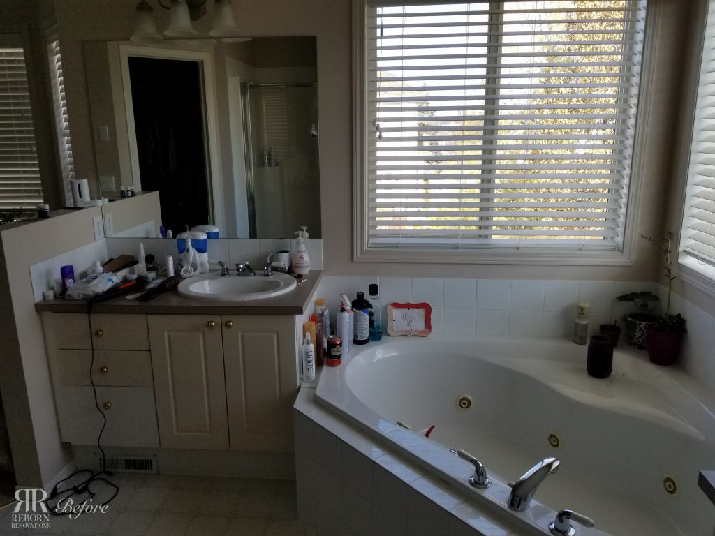 before photo of cluttered bathroom in Strathridge Crescent