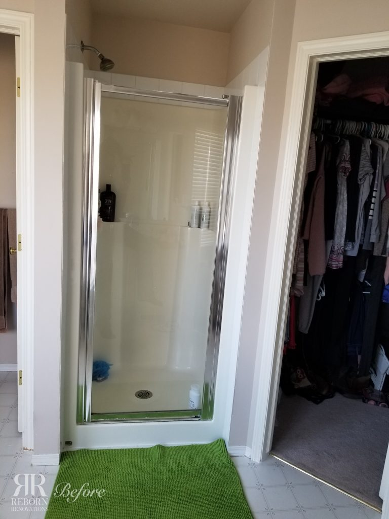 previous fibreglass one piece shower that was replaced with custom tile shower