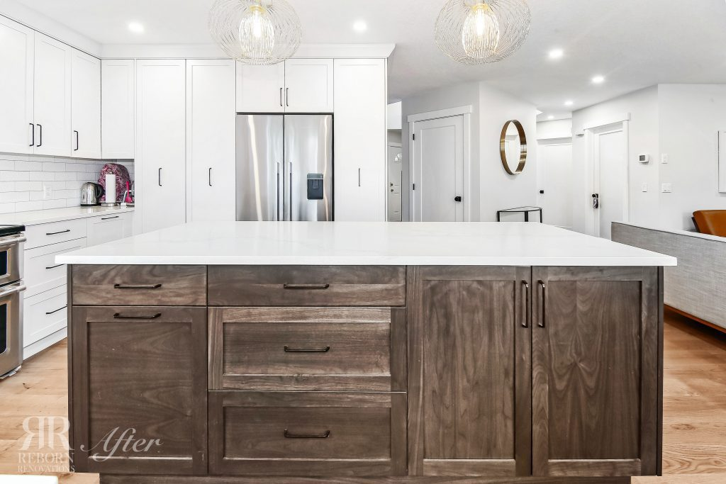 Photos of renovated cabinets and countertops, white kitchen cabinets in Strathridge Crescent Southwest, Calgary, AB Canada