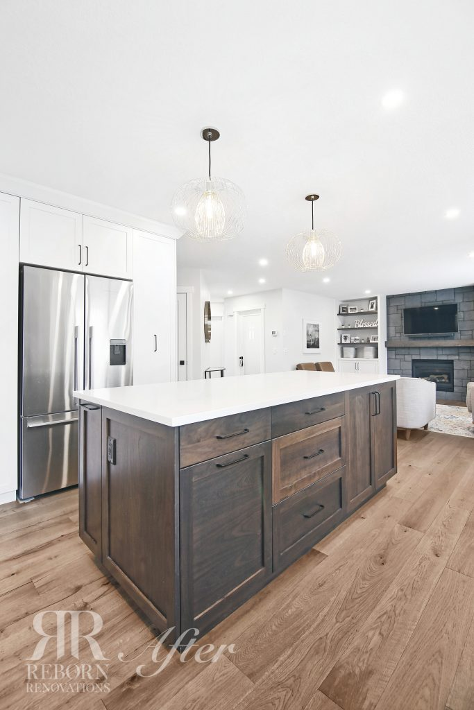 Newly renovated kitchen, with large marble island, in Calgary AB Canada