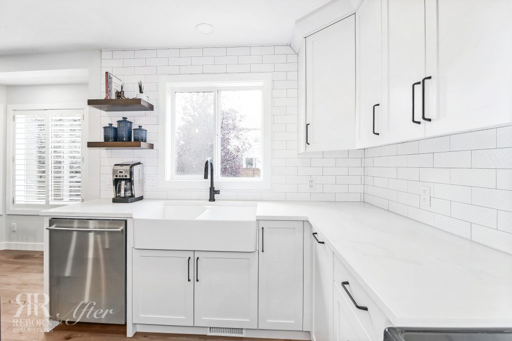 Photos of modern white painted kitchen and sink, kitchen window and modern appliances in Strathridge Crescent Soutwest, Calgary, AB