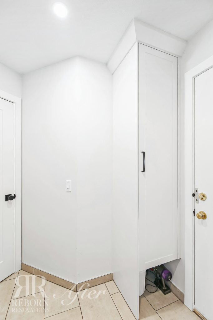 Photos of mud room with newly painted cabinets and doors in a light color palette in Calgary, AB