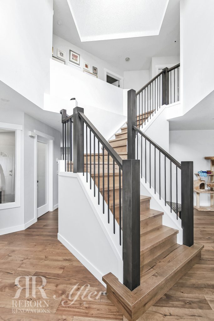 Photos of improved and renovated stairway, wooden floor, steel and wooden stairs, Calagary, AB, Canada