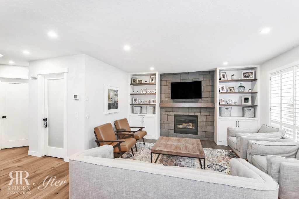 Photos of modern multiroom home renovation of the living room, new brick fireplace in Strathridge Crescent
