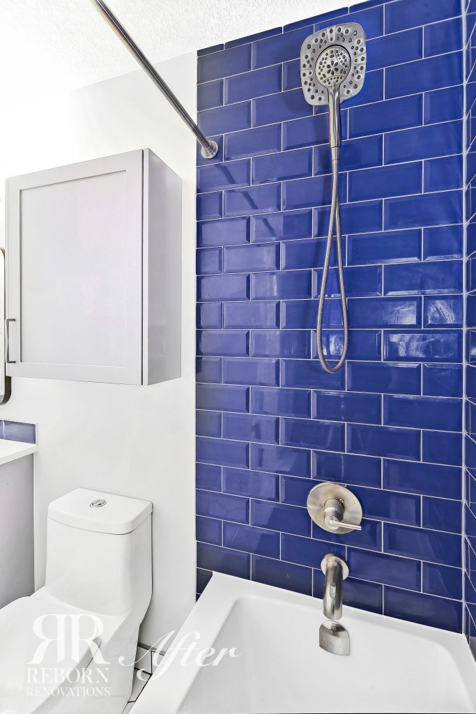 Photos of modern bathroom design, blue tiles in shower, grey medicine cabient, dual flush toilet in Calagry AB, Canada